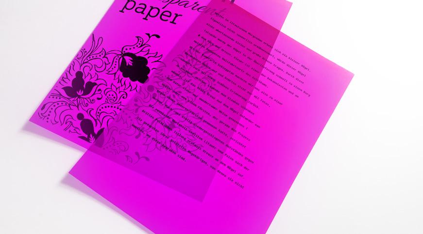 Transparentes Papier bedrucken